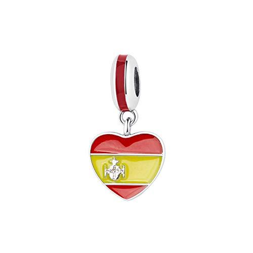 Originale 925 Sterling Silver Bead Charm Fit Bracciali Amore Viaggio Palma Torre Eiffel Charms Delle Donne Gioielli FAI DA TE, colore: Bandiera del cuore della Spagna, cod. Awertaweyt258477