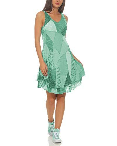 ZARMEXX Damen Sommerkleid Strand Kleid Patchwork-Print Ärmellos doppellagig A-Linie Mint One Size (36-40)