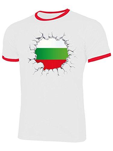 Golebros Bulgarien Bulgaria 5672 Fuss Ball Ringer Tee EM 2020 WM 2022 Trikot Look Flagge Fahne World Cup Jersey Männer Herren S
