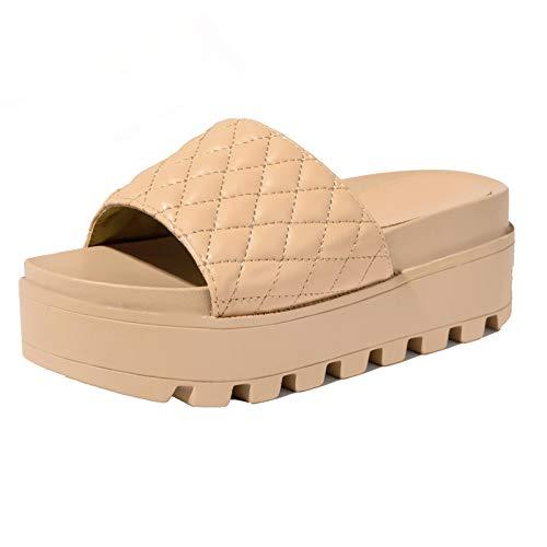TTCS Sandalias Mujer Plataforma Zapatos con Plataforma De Verano Antideslizante Y Resistente Al Desgaste,Hace Que La Altura Parezca Más Alta,42