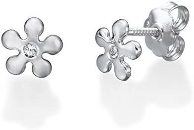 14K Solid Yellow Gold Flower Round cubic zirconia Screwback Stud Earrings Girl Teens Jewelry Gift