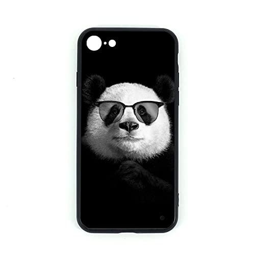Custodia per iPhone 7/8 con motivo panda in vetro temperato + cover in silicone TPU per iPhone 7 iPhone 8