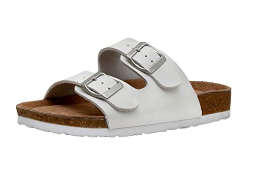CUSHIONAIRE Women's Lane Cork Footbed Sandal with +Comfort, White,8.5