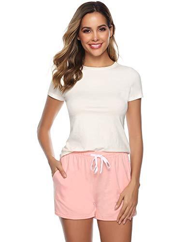 Sykooria Schlafanzughose Damen Kurz Pyjamahose Sporthose Kurz Sommer High Waist Kurze Hosen Nachtwäsche Shorts aus 100% Baumwolle mit Taschen und Kordelzug, Perfekt für Schlaf Sport Yoga