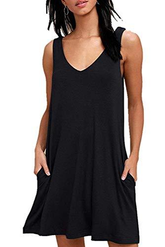 Ärmelloses Kleid Damen Sommer T-Shirt Swing Kleid Casual Lose V-Ausschnitt Kurzen Blumen Bedrucktes Strandkleider mit Taschen
