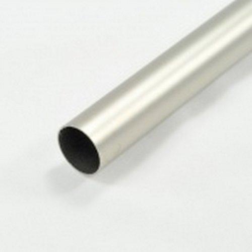 Tringle à Rideaux Métal Couleur Argent Mat Ø 20 mm + 2 supports extensibles + 2 embouts cubes transparents (Longueur extensible (1.85 x 3.50 m))