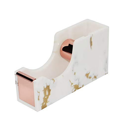 Multibey Acrylic Adhesive Tape Dispenser Heavy Duty Nonslip Tape Cutter, 1-inch Rose Gold Core Marble Texture Office Supplies (Marble Rose Gold 2)