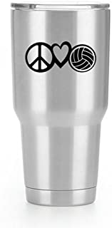 Peace Love Volleyball Vinyl Decal Sticker ( 2 Pack!!! ) | Yeti Tumbler Cup Ozark Trail RTIC Orca | Decals Only! Cup not Included! | Black | 2 - 4 X 1.7 inch | KCD1815