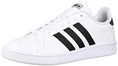 adidas Women's Grand Court Tennis Shoe, White/Black/White, 7.5 M US