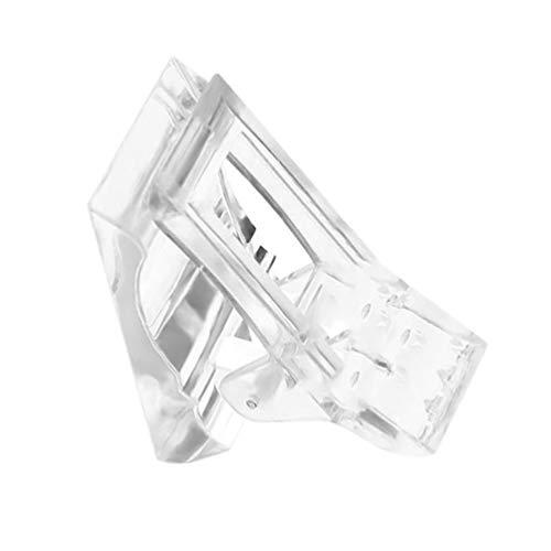 PIXNOR 20 peças de pontas de unha de gel de poliéster de construção rápida com clipe para construção de plástico de poligel extensão de dedo UV Construtor para arte em unhas de manicure DIY