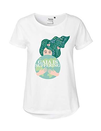 """Neutral® SA8000 - Maglietta a maniche corte da donna """"Gaia is Suffering"""", 100% cotone organico, 100% cotone biologico, commerci"""