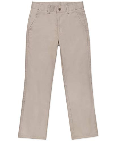 Nautica Husky Boys' Uniform Flat Front Pant, Khaki, Small/10- Husky