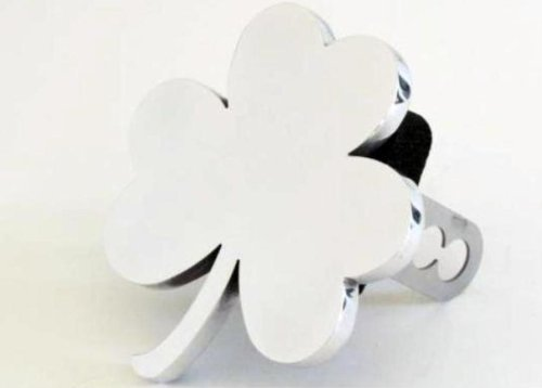 FabProductsRus.com Shamrock Hitch Cover - Polished Chrome - 2' Hitch Receiver - 3/8 Inch Thick High Grade Aluminum Chrome Hitch Cover - Size Measures 5' X 5.5' - Shamrock