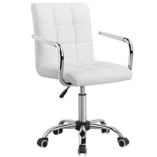 YAHEETECH Ergonomic Mid Back PU Leather Executive Chair with Large Seat, Adjustable Stylish Office Chair on Wheels White