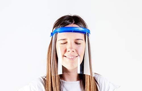 Pantalla Protección Facial - Pantalla Protectora Cara, Protector Facial, Visera Protectora - Visera Ajustable, Reutilizable, Ligera, ServalPharm Azul
