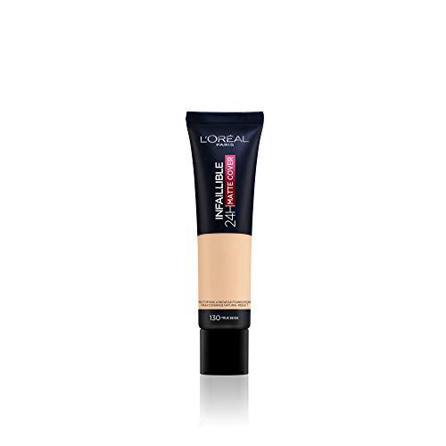 L'Oréal Paris Make up, Wasserfest und langanhaltend, Mattierende, flüssige Foundation mit hoher Deckkraft, Infaillible 24H Matte Cover, Nr. 130 Beige Peau/True Beige, 1 x 30 ml