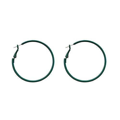 Xlin S925 Silver Aguja Simple Retro Circular Circular Pendientes Personalidad Pendientes De Rollo De Oreja Grande (Color : 5cm)