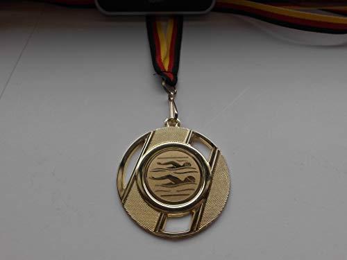Fanshop Lünen Medaillen - aus Metall 50mm - mit einem Emblem - Schwimmen - Frauen - Herren - Schwimmensport - inkl. Medaillen-Band - Farbe: Gold - mit Alu Emblem 25mm - (e257) -