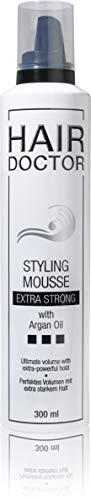 HAIR DOCTOR Styling Mousse extra strong Professioneller Schaumfestiger Haarfestiger Föhnschaum pflegend mit Argan Öl für mehr Volumen