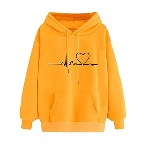 Women's Hooded Sweatshirt Heart Printed Drawstring Casual Pullover Long Sleeve Hoodie Tops Shirts With Pockets Yellow