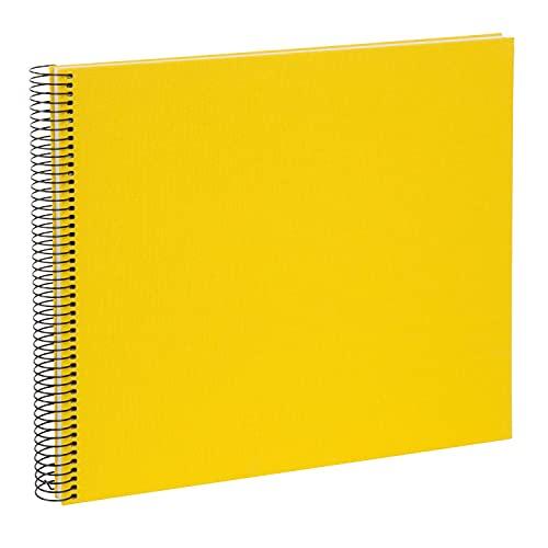 goldbuch 25371 Spiralalbum Bella Vista, Foto Album 35 x 30 cm, Fotoalbum mit 40 weiße Seiten, Erinnerungsalbum aus Leinen, Fotobuch für Bilder und Fotos zum Einkleben, Gelb