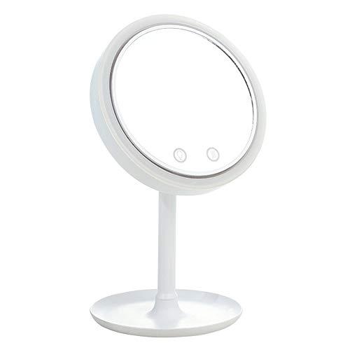 ZXCASD Espejo Maquillaje con Luz, LED Espejo De Mesa con Espejo Aumento 5X, 3 Modos De Color Espejo Cosmético Pantalla Táctil De Mesa Ventilador Incorporado