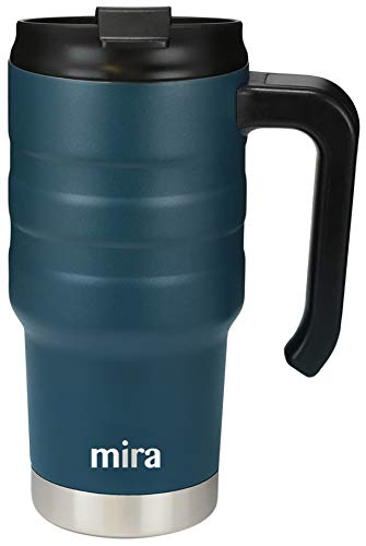 MIRA 20 oz Stainless Steel Travel Car Mug with Handle & Spill Proof Twist On Flip Lid   Vacuum Insulated Thermos Tumbler Keeps Coffee, Tea, Drinks Piping Hot or Ice Cold   French Blue