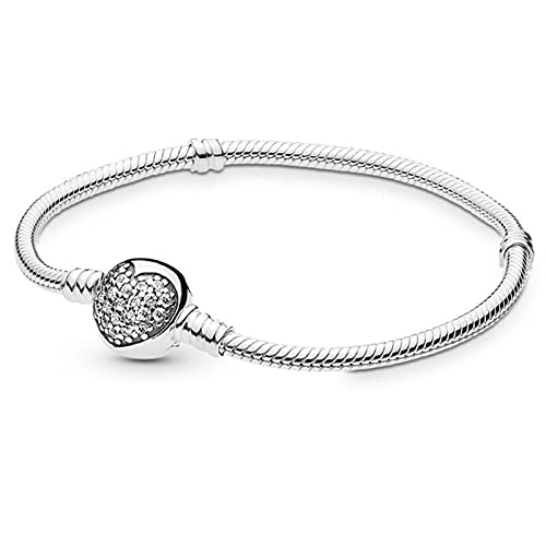 Pandora 925 Jewelry Bracelet Natural Crystal Snake Basic Chain European Fashion Bangle Bead Charms Women Diy Gifts