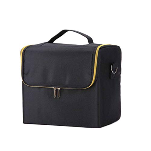 Grande boîte de Rangement cosmétique Sac de Rangement imperméable Portable Pliable à Dos 2 Couches (Color : Black, Taille : 29 * 21 * 27cm)