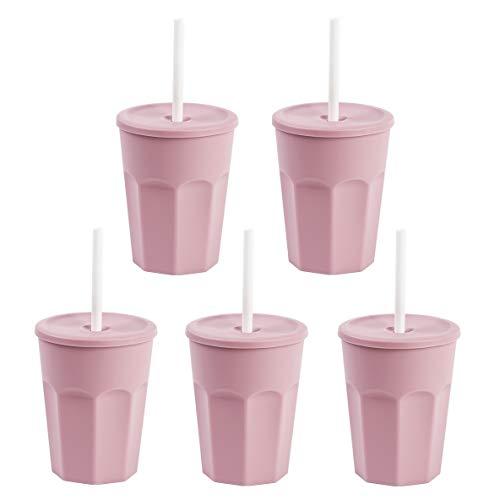 ENGELLAND 5X Kunststoffbecher mit Deckel Rosa Trinkbecher mit Strohhalm Party-Becher Plastik Trink-Gläser Mehrweg 0,25l
