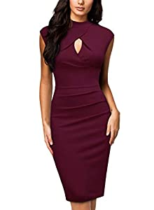 Miusol Women's Business Slim Style Ruffle Work Pencil Dress,X-Large,B-Wine by