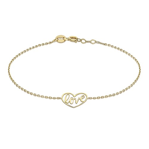Carissima Gold Women 9 ct (375) Yellow Gold 12 x 10.5 mm Love Heart Adjustable Bracelet 18 cm/7 Inch - 19 cm/7.5 Inch
