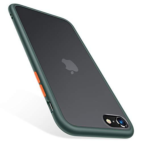 TORRAS für iPhone SE 2020 Hülle [Speziell für iPhone SE 2020] Militärischer Vollschutz Berühren Slim und Silikon Leicht Durchsichtige Hülle Kratzfest Handyhülle für iPhone SE 2020 - Matt Grün