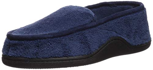 isotoner Men's Microterry Slip On Slippers, Navy Large / 9.5-10.5 US