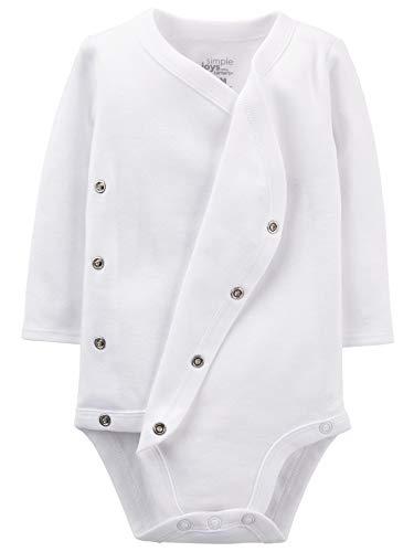 Simple Joys by Carter's Baby 4-Pack Long Sleeve Side Snap Bodysuit, White, Newborn