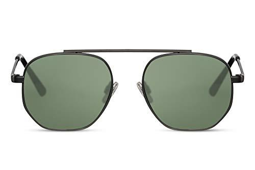 Cheapass Gafas de Sol Parte superior sin Puente Nasal Pequeño Mate Negras Metal Hexagonal con Lentes Verdes UV400 Protegidas Hombres Mujeres