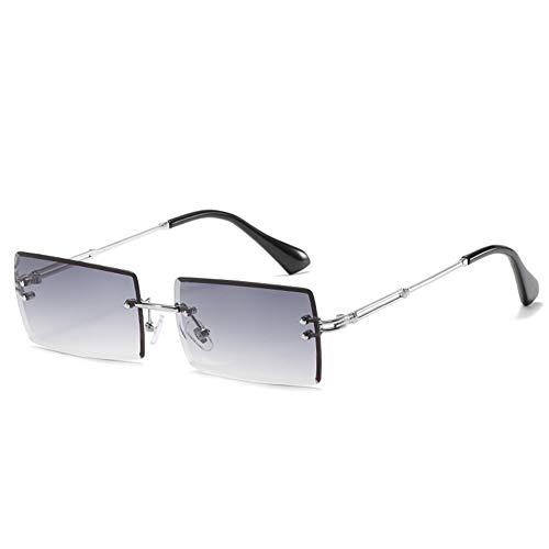 Grainas Retro Randlose Rechteck Sonnenbrille für Damen Herren Gold Ultraleicht Rahmen UV400-Schutz Vintage Bonbonfarben Klassische Quadratische Brille (Silber-Grau)