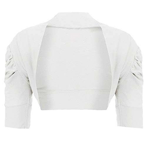 RageIT RageIt - Mädchen Strickjacke Bolero Rüschenärmel Kurz Baumwolle - 2-3 Jahre, Weiß