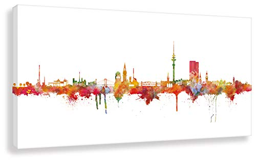 Kunstbruder Moderne Hamburger Skyline - Light 60x120cm - by Stadt Hamburg Kunstdruck 2cm (div. Varianten/Größen)- Leinwandbild Wandbild Wanddekoration Kunstbild Leinwanddruck/fertig zum aufhängen