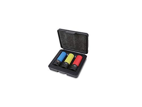 Beta 720LC/C3 - Chiavi a Bussola con Inserti Polimerici Colorati, Custodia portatile, 3 Pezzi. Set Chiavi a Bussola Professionali, Ideali per rimuovere i dadi delle ruote delle auto