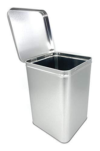 Perfekto24 Caja de almacenamiento en plata – Caja de metal rectangular 14,6 x 14,6 x 22 cm grande lata con tapa – Lata de almacenamiento de metal universal
