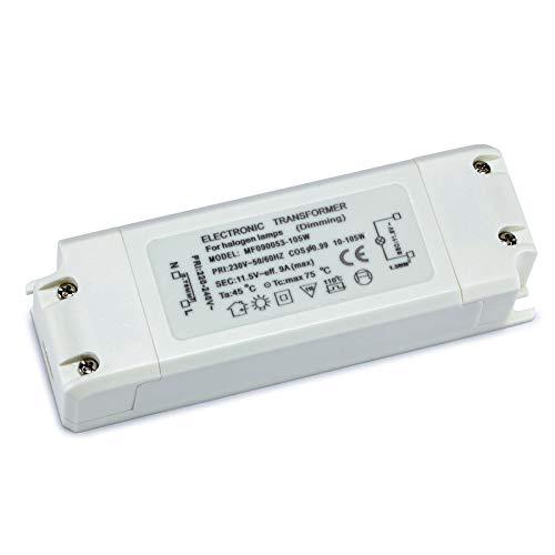 Yafido Transformador electrónico 230V(AC) a 12V(AC) 10-105W,protección de sobrecarga para transformadores halógenos, regulable para lámparas halógenas