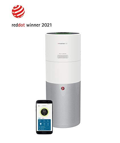 Hoover H-PURIFIER 700 - HHP70CAH - Purificador aire inteligente, Difusor y humidificador, Multisensores, Wi-Fi, Filtro triple capa (hepa), Inactivación polen, Alertas CO, CADR 330m3/h, Blanco