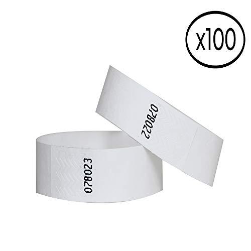 100 Papier-Armbänder aus Tyvek, 19 mm für Events, Festivals, reißfest und personalisierbar, in 12 Farben erhältlich 19mm weiß