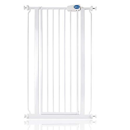 Safetots Puerta de seguridad de metal extra alto ajuste a presión (68,5 cm - 75 cm), color blanco
