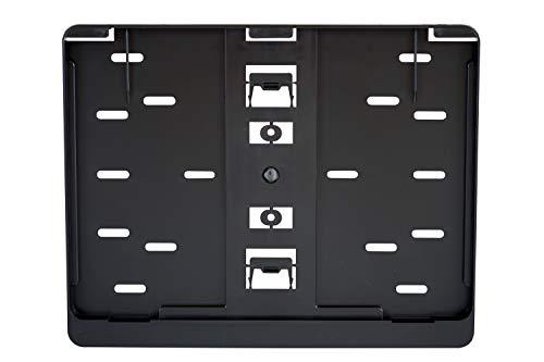 1x Kennzeichenhalter Nummernschildhalter Made in EU 280 x 200 mm 28 x 20 cm Material bruchfester ABS Kunststoff Schwarz (Unlackiert) /280/
