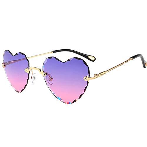 Hellery Gafas de Sol de Corazón Gafas Gafas de Sol de Protección UV400 Exteriores - Rosa Morado, Tal como se Describe