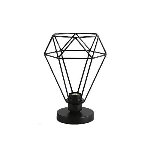 YUNYODA Lámpara industrial de metal, jaula de lámpara de diamante, pantalla de hierro, marco hueco, luz de mesa, mesita de noche, lámpara de mesa E27, elegante, delicada, negra (sin bombilla)