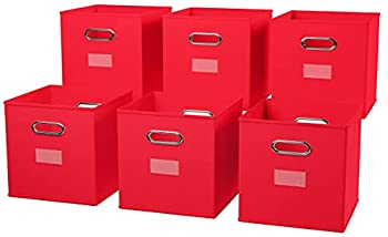 Ornavo Home Foldable Storage Bins Basket Cube Organizer with Dual Handles and Window Pocket - 6 Pack - 12  L x 12  W x 12  H - Red