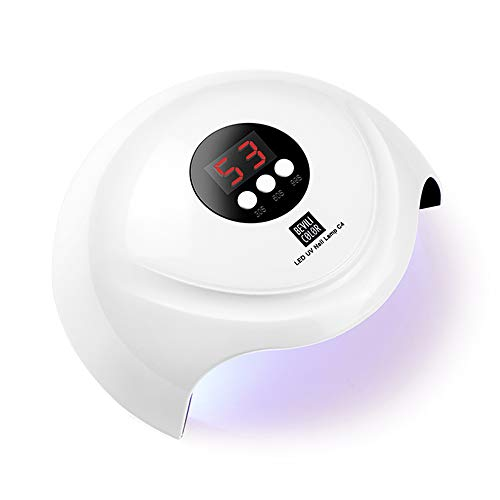 HALOVIE Lampada Unghie LED 36W Mini UV Lampade Unghie Portatile con 3 Timers USB Macchina Gel Smalto Schermo LCD Sensore Automatico Fornetto Unghie Professionale per Tutti i Smalti Bianco